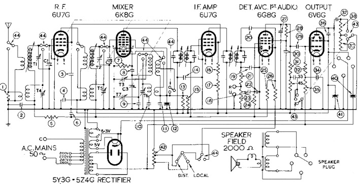 tube radio circuit diagram
